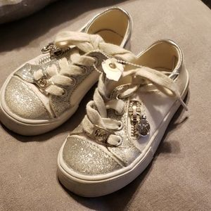 Michael Kors MK white silver toddler girl sneakers